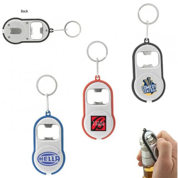 Q034 Promotional Classic LED Torch Keytags With Bottle Opener