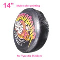 "A02-A     14"" + multi Gradient color printing auto PU leather spare tyre/wheel cover"