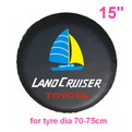 "A03     15"" + Screen printing auto PU leather spare tyre/wheel cover"