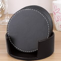 F08 Deluxe Round  pu leather drink coaster set of 6 printing/embossed