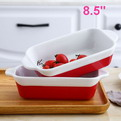 V26    Ceramic binaural grill household fish plate soup plate high temperature baking rice rectangular cheese cake plate