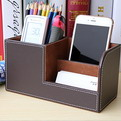 10H1     custom branded PU leather pen holder Multi-purpose desktop stationery storage box