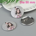 J03    custom tinplate promotional button  badge dia 50mm